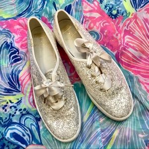 Kate spade white silver keds shoes 8